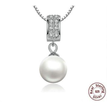 925 Sterling Silver Simulated Pearl Pendant Long Chain Necklace