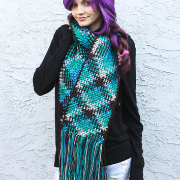 """Supersized Teal Tartan Scarf - Plaid Color Pooled Crochet Pattern in Teal, Cream, Blue & Brown - 8"""" Long, Ready To Ship"""