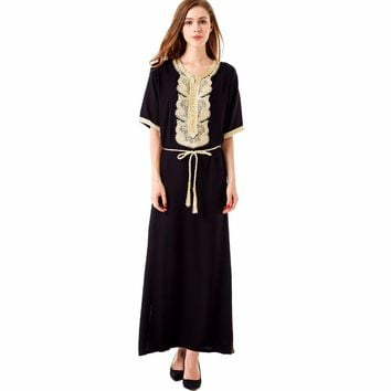Women Bohemian Maxi Long dress casual loose Dress moroccan Kaftan Abaya Muslim robe embroidery dress ethnic vestidos 1604