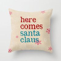 Christmas pillow cover,holiday pillow,decorative pillow,Christmas gift,18x18 pillow,Santa Claus,typography pillow,home decor,throw pillow