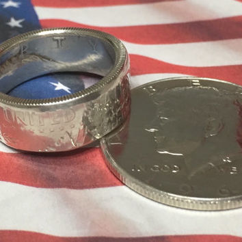 Kennedy Half Dollar Coin Ring - Silver Coin Ring - Half Dollar Ring - Silver Ring - Walking Liberty - Barber Half Dollar - Coin Jewelry