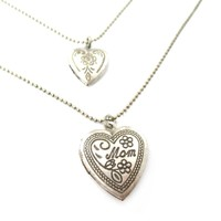 I Love You Mom Heart Shaped Mothers Day Locket Necklace in Silver | DOTOLY