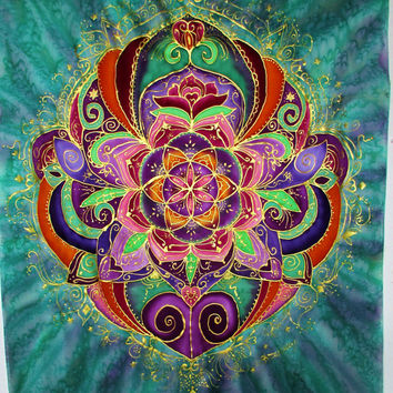 mandala art, Rebirth, silk wall hanging, spiritual, metaphysical, pagan,yoga art, mandala, meditation,healing art