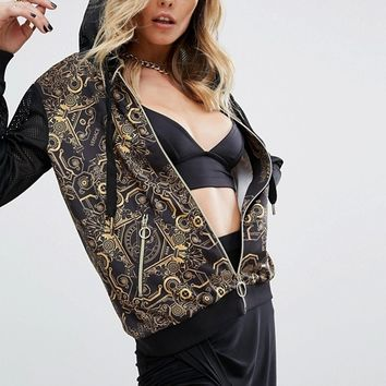 Versace Jeans Digital Baroque Print Zip Through Hoodie at asos.com