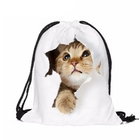 Classic drawstring 3D Cat printed women backpack