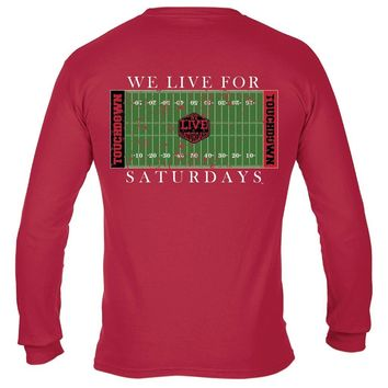 Athens College Town Touchdown Long Sleeve Tee in Red by We Live For Saturdays