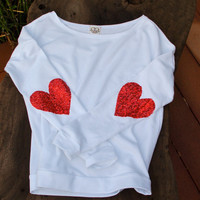 Sequin Heart Elbow Patch Sweatshirt - The Dazzle Patch Jumper with Red Heart Sequin Elbow Patches - Ivory