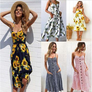 Women Summer Striped Dress Sexy Straps Boho Floral Print Tunic Beach Dress Sundress Female Pocket