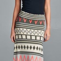Chevron Maxi Skirt - Navy/Neon Pink