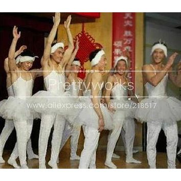 Ballet Dress for Male Ballet tutu Gymnastics Leotard Swan Professional ballet tutu Swan Lake Ballet Costumes J-0606