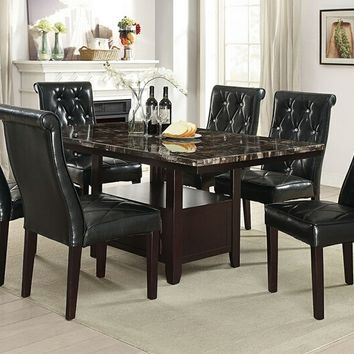 Poundex F2460-1758 7 pc Arenth II collection espresso finish wood faux marble top dining table set with tufted chairs