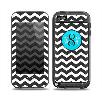 The Black & White Chevron Pattern with Blue Monogram Skin for the iPod Touch 5th Generation frē LifeProof Case