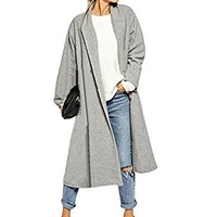 PHOTNO Women Cardigan Open Front Trench Coat long cloak jacket waterfall cardigans for women