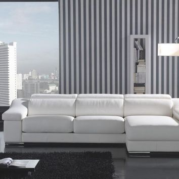 Dreamy White Leather Sectional by Scene Furniture | Opulentitems.com - Opulentitems.com