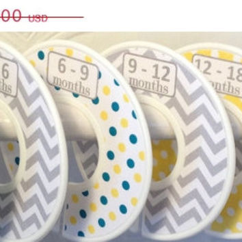 ON SALE 6 Custom Baby Closet Dividers Teal Mustard Yellow Grey Chevrons Dots Unique Baby Boy Girl Shower Gift Nursery  Zig Zag Baby Closet O