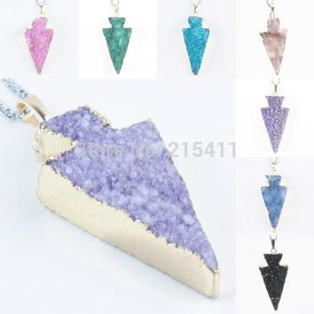 SUNYIK Druzy Drusy Geode Stone Arrowhead Arrow Point Quartz Gem Stone Charm Pendant (Free Chain)