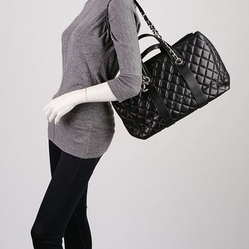 Chanel Black Quilted Lambskin Leather Large Bowling Bag