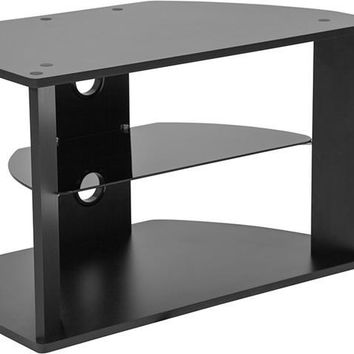 Northfield Black Finish TV Stand with Glass Shelves