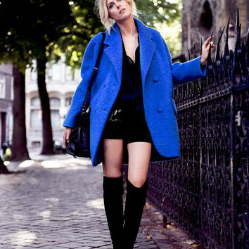 Blue Long Sleeve Notched Collar Woolen Coat