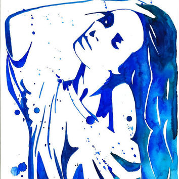 Print from original watercolor fashion illustration painting titled Blue Emotion
