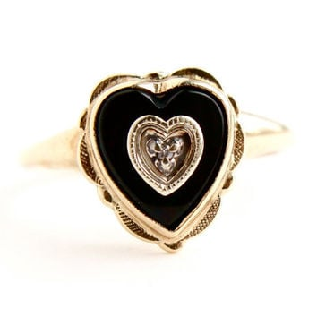 Vintage 10K Yellow Gold Diamond Heart Ring - Sz. 6 Mid Century Onyx 1950s Engagement Fine Jewelry / Signed PSCO Plainville Stock Co.