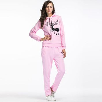 Women Sport Casual Christmas Reindeer Print Long Sleeve Hooded Sweater Trousers Set Two-Piece Sportswear
