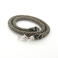 Beaded necklace, bead crochet necklace, nickel-hematite colors beaded rope