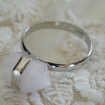 1- Rose Quartz Gemstone Ring Adjustable Pink Stone Two Points Gem All Sizes Silver Stone Bullet Point Finished Ring Jewelry on BuyDiy