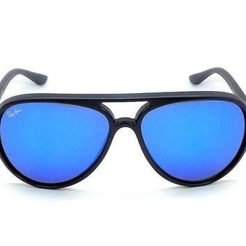 Kalete Ray Ban CATS 5000 RB4125 601S17 Matte Black / Blue Mirror 59mm Sunglasses