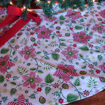 Red Floral Christmas Tree Skirt Red and Green by KaysGeneralStore