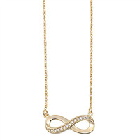 Gold Tone Sterling Silver Infinity Necklace with CZ Stones