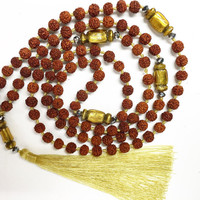 Tassels Necklace/Rudraksha beads/Tassels/Yoga/Buddhist/Mala/Beads/Meditation *FREE SHIPPING to AUSTRALIA