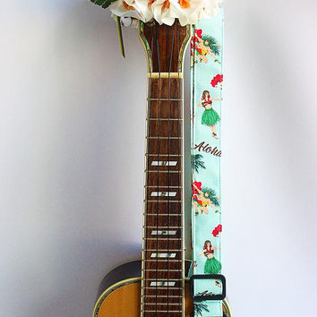Ukulele strap (ribbon lei flower included)/ Mint green hula girl A / hawaiian fabric /ukulele accessory / instrument strap