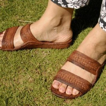 Brown Rubber Sandal, Hawaiian Classics Slide Surf Ware Slipper (8)