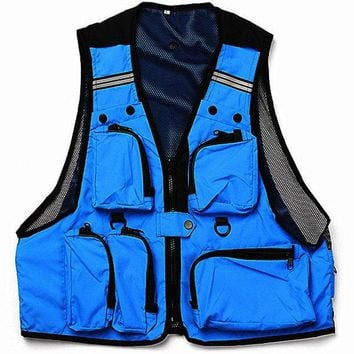 DCCKL72 Multi Pockets Fishing Hunting Mesh Vest Mens Outdoor Leisure Jacket
