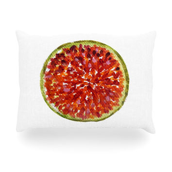 """Theresa Giolzetti """"Passion Fruit"""" White Red Oblong Pillow"""