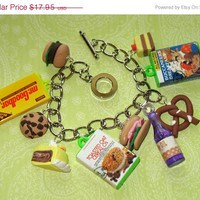 Just Eat It Charm Bracelet Junk Food Cracker by PowellArtAndDesign