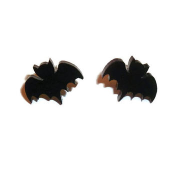 Black Bat Earrings, Cute Stud Earrings, Creepy, Horror, Halloween Kawaii Goth