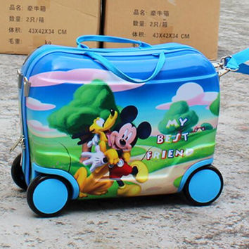 Free shipping   Mickey  fashion luggage  kids trolley suitcase  cartoon  luggage with rolls  EVA  travel suitcase