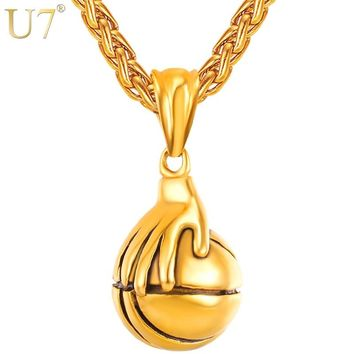 U7 Necklaces I Love Basketball Palm Playing Pendant Rock Hip Hop Stainless Steel Sports Necklace Fans Men Jewelry Necklace P1120