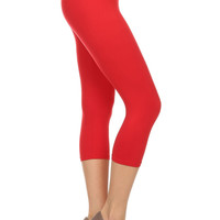 Always Solid Color Capri Leggings for Women - Over 11+ Colors To Choose - Red