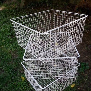 Large Metal Wire Crates  Vintage Wire Baskets Set of Three