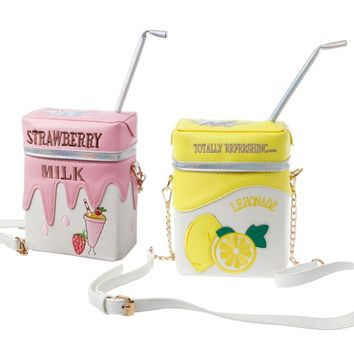 THINKTHENDO Fashion Design Funny Strawberry Milk Women Shoulder Bag Crossbody Bags Girl Small Bag Purse New