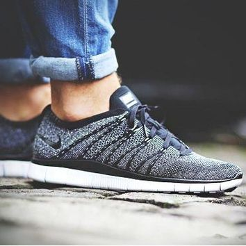 """NIKE"" Trending Free Knit Fly Line Fashion casual sports shoes Dark Grey"
