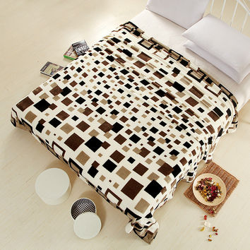 2016 New super soft air-condition coral fleece flannel fabric blanket baby sofa throw plaid cartoon winter qulit plush bedsheet