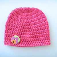 Crochet Baby Hat, Hot Pink Baby Beanie, Baby Accessories