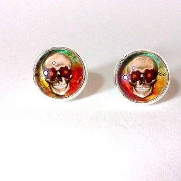 Skull Earrings, Glass Earrings, Skull, Glass Jewelry, Sugar Skull, Skull Jewelry, Stud Earrings, Nickle Free Earrings, Flower Jewelry