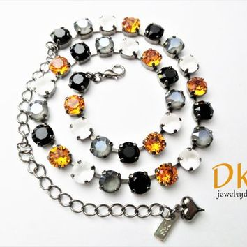 Magical Fall, Swarovski 8mm Necklace, Hematite Setting, Halloween, Black and Orange, DKSJewelrydesigns, FREE SHIPPING