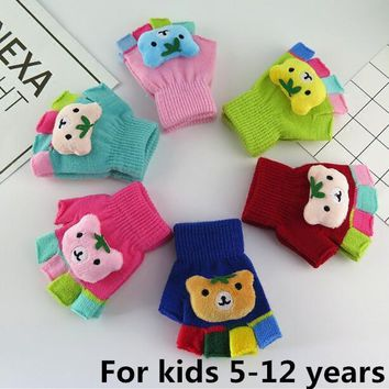Autumn and winter children's thicken warm knitted gloves boy and girl kids winter lovely cartoon bear fingerless glove R260