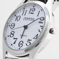 Silver Metal Aluminum Round Shape Wrist Watch